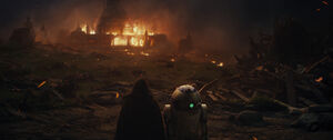 Luke and R2 see the Jedi Temple burning