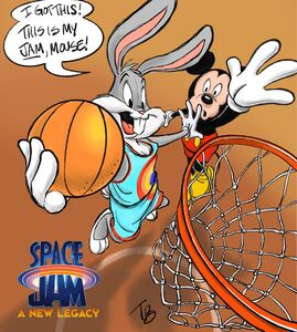 Official Art of Space Jam 2 with Bugs and Mickey