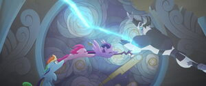 Twilight grabs the staff first before the Storm King does in time