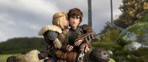 Astrid kissing hiccup on the cheek HTTYD2