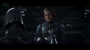The Mandalorian is holding a Darksaber