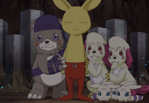 Bearmon, Neemon, Labramon and Kyaromon