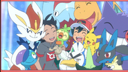 Ash and Goh with their Pokemon