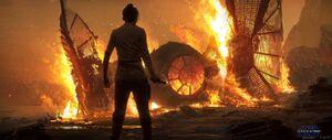Rey burns Kylo's TIE concept art