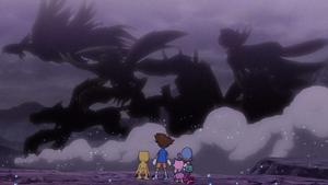 Taichi, Agumon, Sora and Biyomon look at the past
