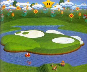 Yoshi and Wario at Mario's Star