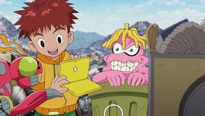 Garbagemon looks at Koshiro's computer