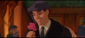 Dimitri finds a rose in his pocket