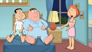 Peter and Quagmire sharing the bed