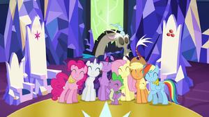 Main cast and Discord group hug S4E26