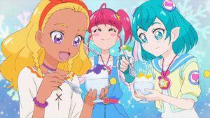 STPC24 Hikaru, Lala and Elena enjoy their shaved ice