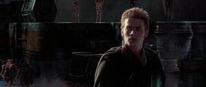 Anakin Skywalker caught by Jango Fett