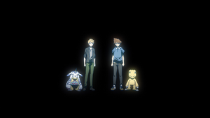 Gabumon, Matt, Tai and Agumon