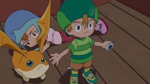 Patamon and T.K protect Sora