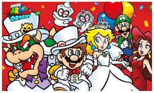 Super Mario Odyssey mario peach bowser pauline and luigi cappy and tiara