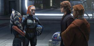 Ahsoka, Bo-Katan, Anakin, Obi-Wan meet