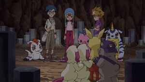 Gomamon, Joe, Sora, Biyomon, Yamato, Gabumon with Neemon, Labramon, Bearmon