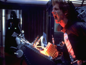 Han Solo being tortured by Darth Vader
