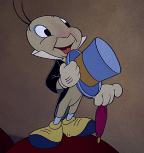 Jiminy Cricket grinning proudly