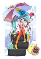 Yande.re 458076 hatsune miku headphones racing miku stockings thighhighs umbrella vocaloid yoneyama mai