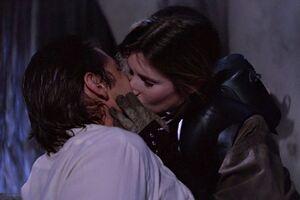 Leia kisses Han