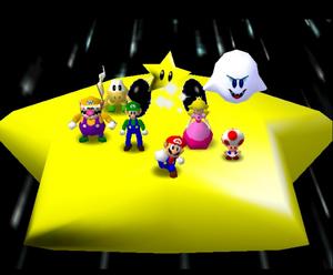 Mario party 64 mario luigi peach wario toad koopa tropa and boo in the Eternal Star