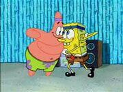 SpongeBob and Patrick do armpit farts.