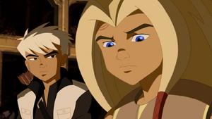Torunn and Hawkeye (Torunn hears Tony tell the story of Thor)