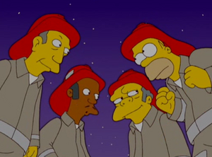 Homer and his friends as firefighters