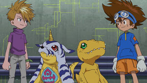 Yamato, Gabumon, Agumon and Taichi