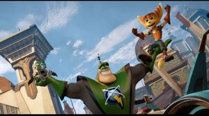 Ratchet, Clank and Qwark (After Warbot Army's Assault)