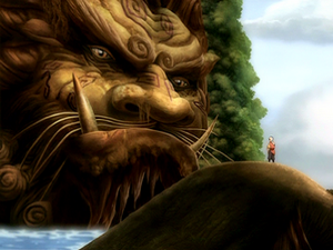Aang with Lion Turtle