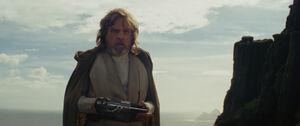 Luke with the Skywalker lightsaber