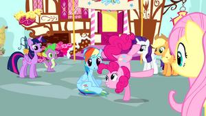 Pinkie Pie standing on one hoof