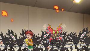 Koshiro & Tentomon vs Eyesmon Scatter Mode