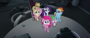 Mane 5 and Spike sad looking up into the sky