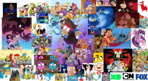 A wallpaper of all the Disney Television Animation, Cartoon Network, and Fox characters