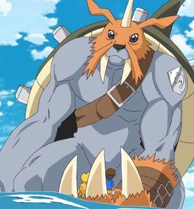Zudomon holds Agumon and Taichi