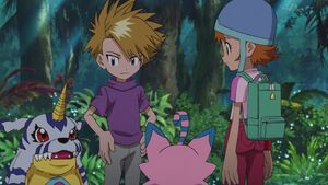 Gabumon, Yamato, Biyomon and Sora