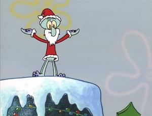 Squidward as Santa Claus