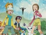 Daisuke, Stingmon, Hikari, Takeru, Tailmon, Veemon and Patamon