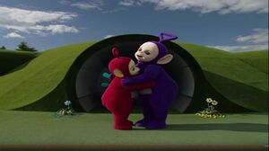 PBS Kids's Teletubbies Tinky Winky and Po hugging