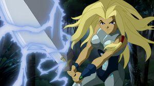 Torunn's sword absorbs electricity