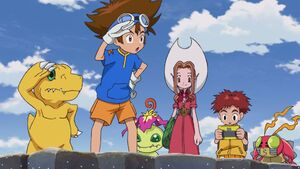 Agumon, Taichi, Palmon, Mimi, Koshiro & Tentomon