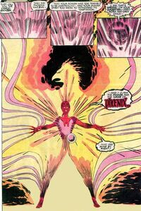 Rachel Summers (Earth-811) and Phoenix Force (Earth-616) from Uncanny X-Men Vol 1 199 0001