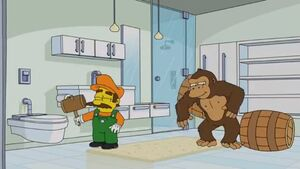 Mario and Cranky Kong in The Simpsons