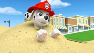 Paw patrol marshall is in the dune of sands by lah2000 dcvkm6e