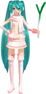Powder Miku in twintails holding a leek