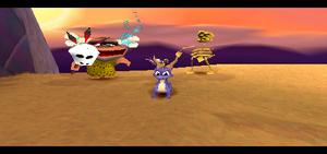 Spyro 2 Ripto's Rage! spyro and Ooga and Mr. Bones