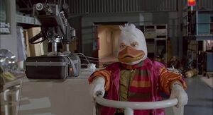 Howard the Duck facing the Dark Overlord